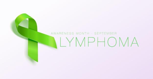 Projekt plakatu kaligrafii świadomości chłoniaka realistyczna limonkowa zielona wstążka września