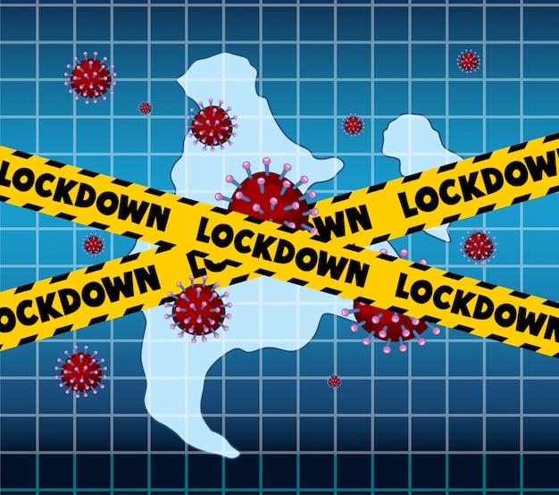 Projekt plakatu koronawirusa z blokadą słów i komórkami wirusa
