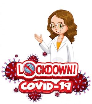 Projekt plakatu koronawirusa z blokadą słów i szczęśliwym lekarzem