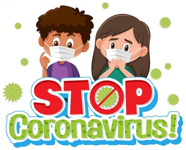 Projekt plakatu koronawirusa z chorymi dziećmi i słowo zatrzymać koronawirusa