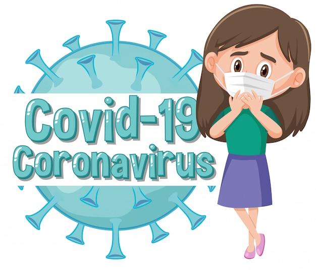 Projekt plakatu koronawirusa z dziewczyną noszącą maskę