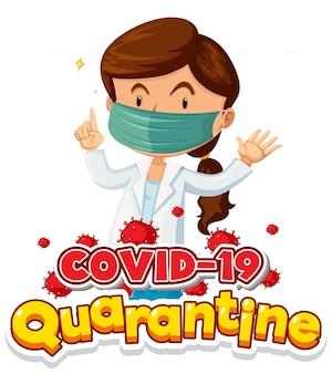Projekt plakatu koronawirusa z kobietą noszenie maski lekarza