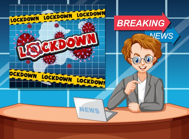 Projekt plakatu koronawirusa z reporterem w studio