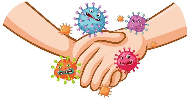 Projekt plakatu koronawirusa z uściskiem dłoni i zarazkami na rękach