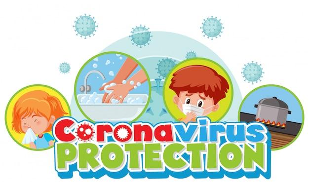 Projekt plakatu koronawirusa ze słowami ochrona koronawirusa