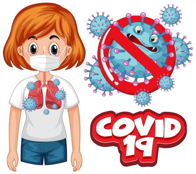 Projekt plakatu koronawirusa ze słowem covid 19 i złymi płucami