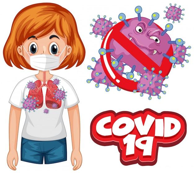 Projekt plakatu koronawirusa ze słowem i chorą kobietą