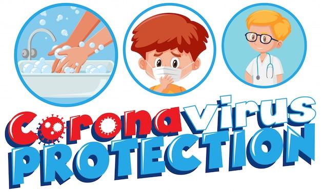Projekt plakatu koronawirusa ze słowem ochrona koronawirusa