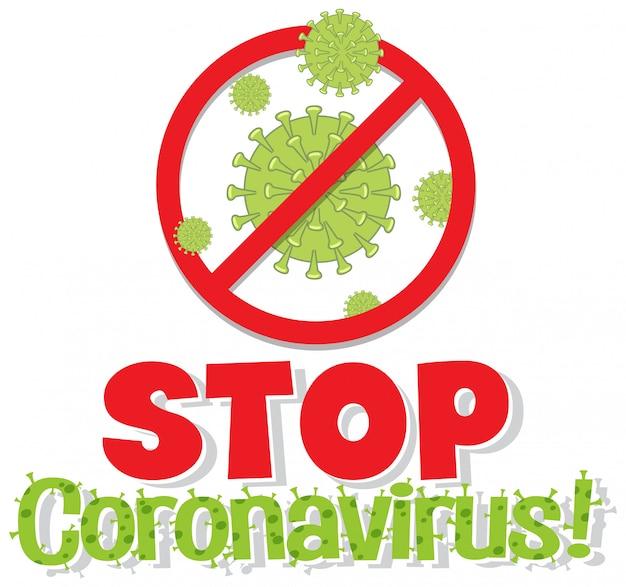 Projekt plakatu koronawirusa ze słowem zatrzymania koronawirusa