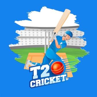 Projekt plakatu krykieta t20 z batsman player w akcji stanowią na tle stadionu efekt pędzla.