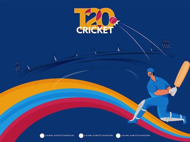 Projekt plakatu krykieta t20 z kreskówka uderzającym piłką i kolorową falą na niebieskim tle stadionu.