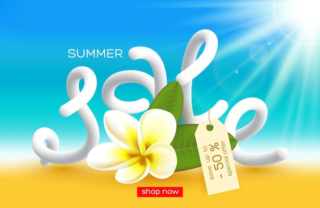 Projekt plakatu letniej sprzedaży. realistyczny kwiat z literami 3d, efekt rozmycia słonecznego tła. ilustracja.
