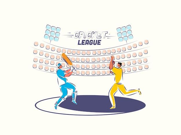 Projekt plakatu ligi krykieta z batsman, postać melonik w grze pozy na tle widoku stadionu.