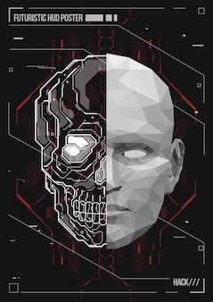 Projekt plakatu ludzkiego ciała z futurystycznymi elementami hud. hologram anatomia człowieka i szkielet.