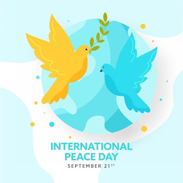 Projekt plakatu międzynarodowego dnia pokoju z kulą ziemską i latającymi gołębiami.