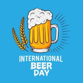 Projekt plakatu międzynarodowy dzień piwa na białym tle