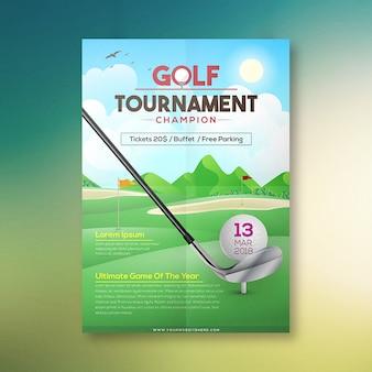 Projekt plakatu mistrzowskiego turnieju golfowego