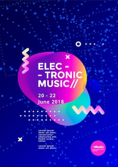 Projekt plakatu muzyki elektronicznej. ulotka dźwiękowa o abstrakcyjnym kształcie geometrycznym. szablon