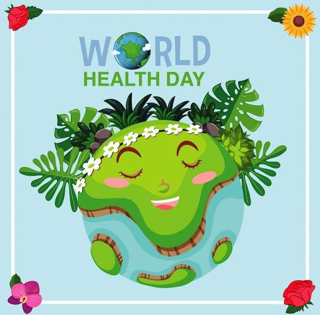 Projekt plakatu na dzień matki ziemi z wielkim uśmiechem na ziemi