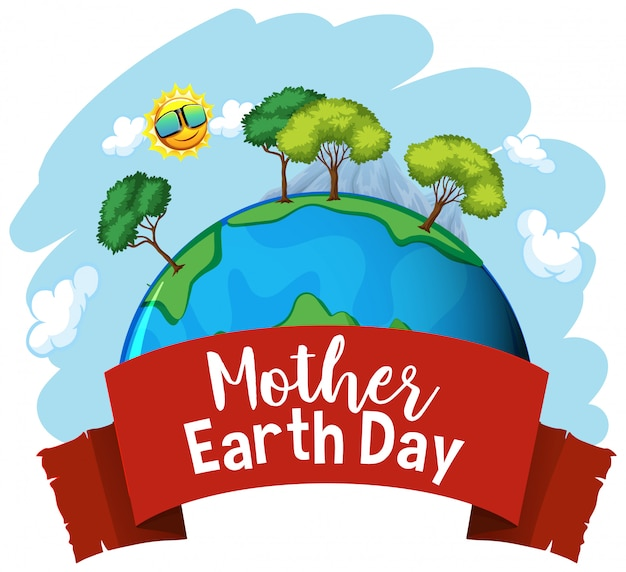 Projekt plakatu na dzień matki ziemi z wieloma drzewami na ziemi