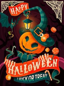 Projekt plakatu na halloween, człowiek z dyni z kapeluszem i płaszczem wiedźmy, impreza z okazji halloween lub kartka z życzeniami