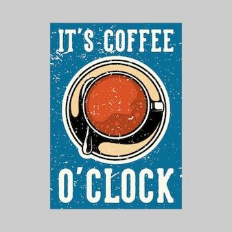 Projekt plakatu na świeżym powietrzu to vintage ilustracja kawa o godzinie