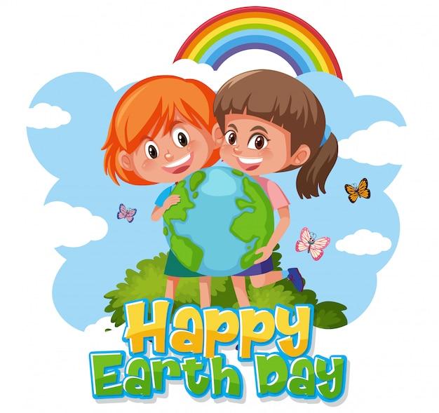 Projekt plakatu na szczęśliwy dzień ziemi z dwiema dziewczynami w parku