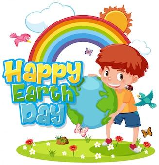 Projekt plakatu na szczęśliwy dzień ziemi ze szczęśliwym chłopcem