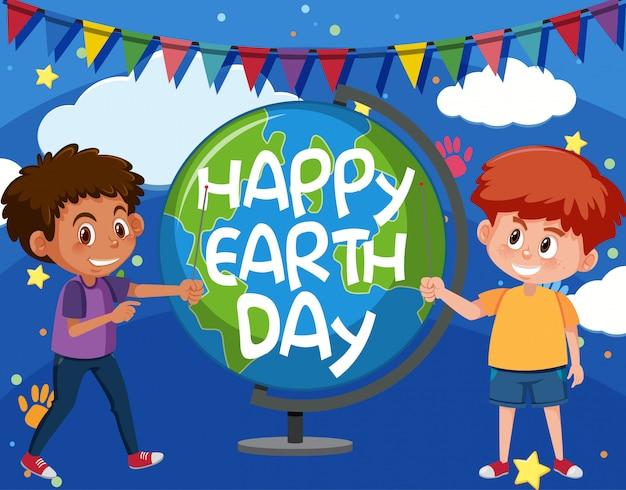 Projekt plakatu na szczęśliwy dzień ziemi ze szczęśliwymi chłopcami i globusem