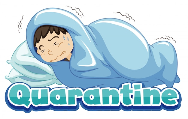 Projekt plakatu na temat koronawirusa z chorym chłopcem w łóżku