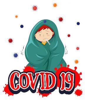Projekt plakatu na temat koronawirusa z chorym chłopcem