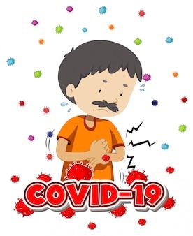 Projekt plakatu na temat koronawirusa z chorym mężczyzną