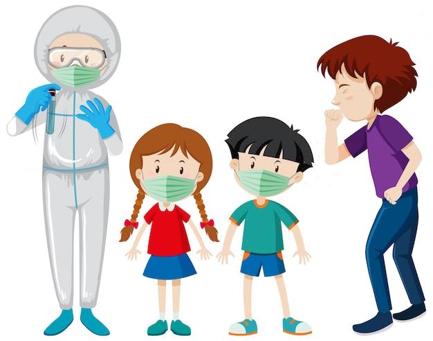 Projekt plakatu na temat koronawirusa z chorymi ludźmi i lekarzem
