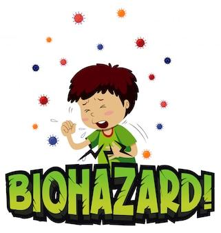 Projekt plakatu na temat koronawirusa z kaszlem chłopca