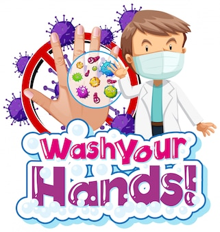 Projekt plakatu na temat koronawirusa z lekarzem i brudną ręką