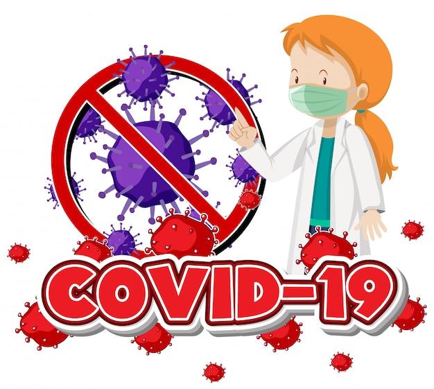 Projekt plakatu na temat koronawirusa z maską lekarza noszącego