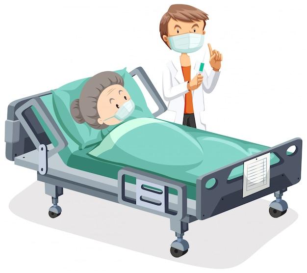 Projekt plakatu na temat koronawirusa ze starą kobietą chorą w łóżku