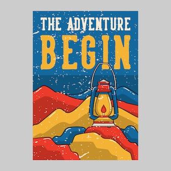 Projekt plakatu na zewnątrz przygody rozpocząć vintage ilustracji