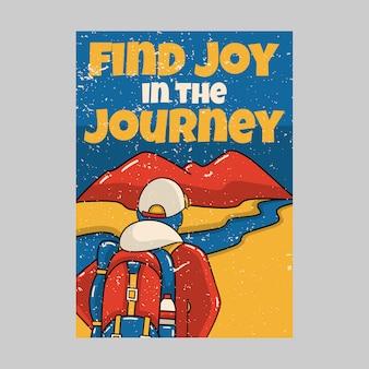 Projekt plakatu na zewnątrz znajduje radość w podróży vintage ilustracji