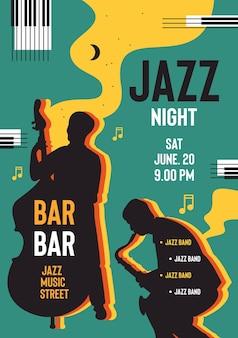 Projekt plakatu nocy jazzowej zaproszenie na szablon wektor festiwalu muzycznego