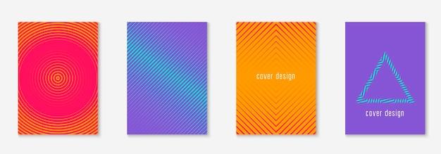 Projekt plakatu nowoczesny. pomarańczowy i różowy. kolorowy notatnik, broszura, ekran mobilny, układ dziennika. projekt plakatu nowoczesny z minimalistycznymi geometrycznymi liniami i kształtami.