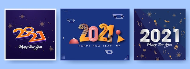 Projekt plakatu obchody nowego roku 2021 w trzech opcjach