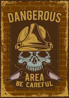 Projekt plakatu ostrzegawczego z ilustracją przedstawiającą czaszkę w hełmie.