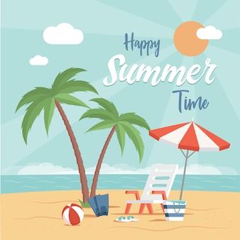 Projekt plakatu płaski szczęśliwy czas letni z miejsca na tekst. wakacyjna impreza na plaży, wakacje nad morzem szablon.