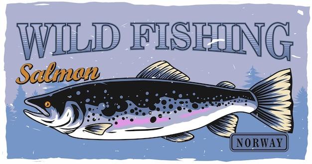 Projekt plakatu połowów łososia w stylu vintageedytowalny projekt można wykorzystać do plakatu