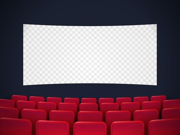 Projekt plakatu premiery kina z białym ekranem