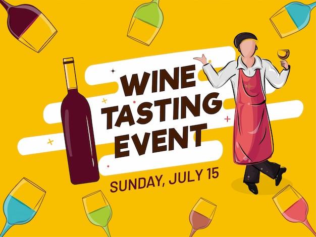 Projekt plakatu reklamowego lub baner z ilustracją kelner bar