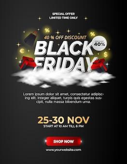 Projekt plakatu sprzedaż czarny piątek.
