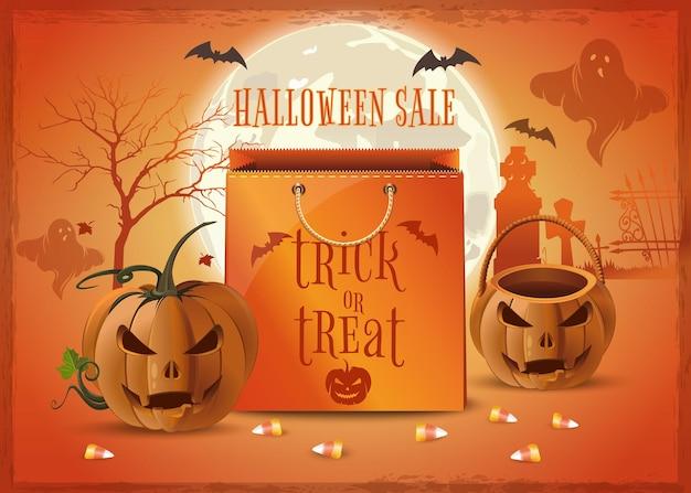Projekt plakatu sprzedaży halloween. zakupy na halloween. cukierek albo psikus. ilustracja wektorowa