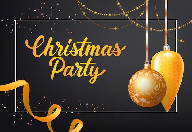 Projekt plakatu świątecznego. złote bombki, łańcuchy